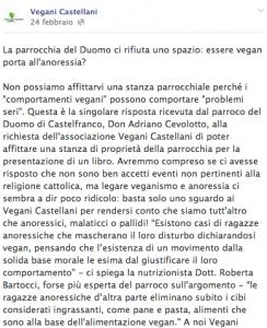 """Vegani censurati dal parroco a Castelfranco Veneto: """"Portano all'anoressia"""""""