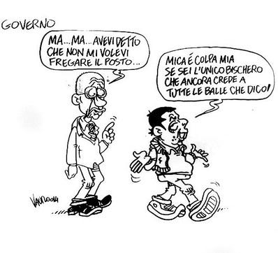 """Renzi a Letta: """"Sei l'unico che crede alle mie balle"""". La vignetta di Vauro"""