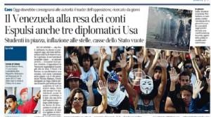 """Venezuela alla resa dei conti, Corriere della Sera: """"Casse dello Stato vuote"""""""