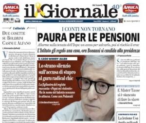 """""""Paura per le pensioni"""", la prima pagina del Giornale"""