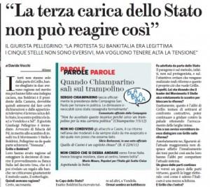 """Gianluigi Pellegrino: """"Boldrini? La terza carica dello Stato non può reagire così"""""""