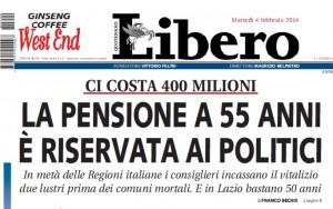 """""""La pensione a 55 anni è riservata ai politici"""" titola Libero"""