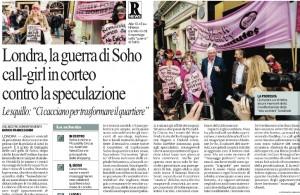 """La guerra di Soho, Repubblica: """"Call-girl in corteo contro la speculazione"""""""