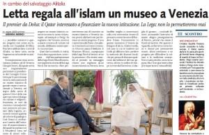 Letta rifila il museo islamico a Venezia, Andrea Morgi su Libero