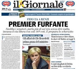 La prima pagina del Giornale