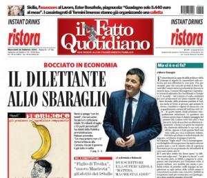 """Renzi, prima pagina Fatto Quotidiano: """"Dilettante allo sbaraglio"""""""