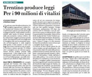"""""""Trentino, 90 milioni di vitalizi per i consiglieri regionali"""", Fatto Quotidiano"""