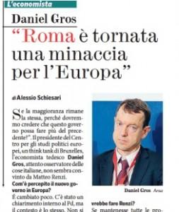 """Daniel Gros, economista tedesco: """"Roma è una minaccia per l'Europa"""""""