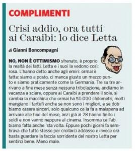 """Gianni Boncompagni sul Fatto Quotidiano: """"Crisi finita. Lo dice Letta"""""""