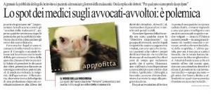 Lo spot dei medici sugli avvocati-avvoltoi: è polemica, Cristiana Salvagni su Repubblica