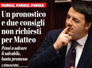 Un pronostico e due consigli non richiesti per Renzi, Vittorio Feltri sul Giornale