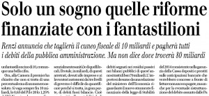 Solo un sogno quelle riforme finanziate con i fantastilioni, Francesco Forte sul Giornale