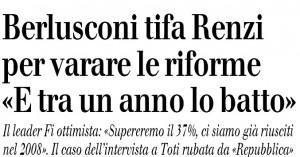 """Berlusconi (per ora) tifa Renzi ma poi promette: """"Tra un anno lo batto"""""""