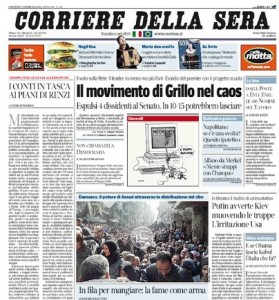 La prima pagina del Corriere della Sera