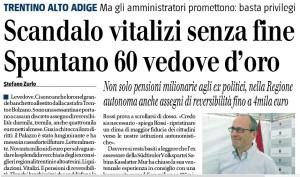 """""""Scandalo vitalizi. In Trentino Spuntano 60 vedove d'oro"""", Stefano Zurlo sul Giornale"""