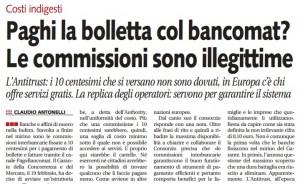 """""""Paghi la bolletta col bancomat? Le commissioni sono illegittime"""", Libero"""