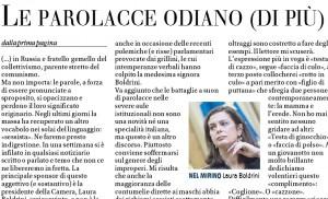 Perché le parolacce odiano di più gli uomini, Vittorio Feltri sul Giornale
