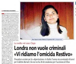 """Elisa Claps, Libero: """"Londra non vuole Danilo Restivo"""""""