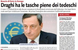 """Mario Draghi, Libero: """"Il braccio di ferro con la Bundesbank"""""""