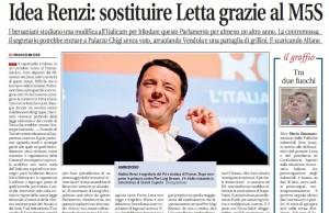 """Renzi e l'ultima ipotesi, Libero: """"Sostituire Letta e governo con M5s"""""""
