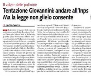 """Enrico Giovannini, Libero: """"Tentazione Inps, ma la legge non lo consente"""""""