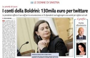 """Laura Boldrini, Libero: """"130mila euro per twittare"""""""