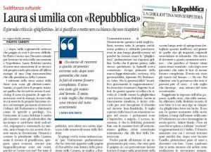 """Libero: """"Laura Boldrini umiliata da Repubblica"""""""
