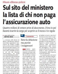 Finiscono in rete le targhe delle auto senza assicurazione,, Matteo Mion su Libero