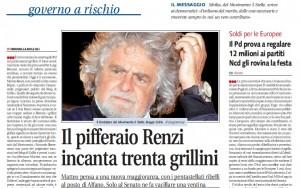 """Matteo Renzi, Libero: """"Il pifferaio incanta trenta grillini"""""""