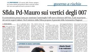 Sfida Pd-Mauro sui vertici degli 007, Franco Bechis su Libero