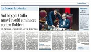 """Laura Boldrini, Corriere della Sera: """"Ancora insulti dal blog di Beppe Grillo"""""""