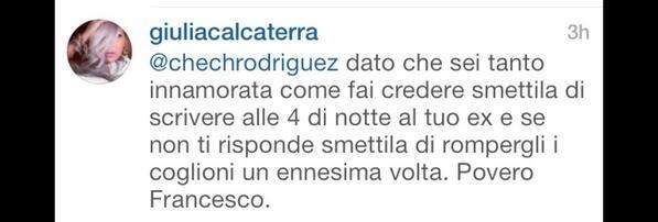 Guerra tra @GiuliaCalcaterr e #ceciliarodriguez  l'ex velina esplode e scrive sulla pag.instagram di cecilia.