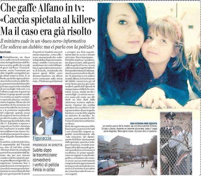 """Alfano, gaffe su Sky: """"Prenderemo il killer di Lecco"""". Ma il caso era già risolto"""