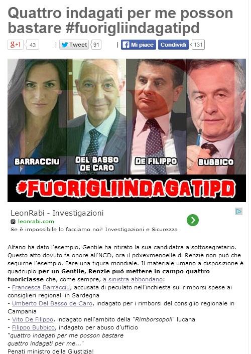 """Beppe Grillo al Pd: """"Cacciate i 4 indagati, imparate da Alfano"""""""