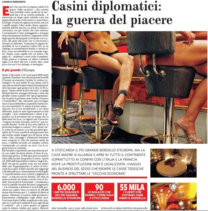 Bordelli, in Germania è industria da 15 miliardi: 400 mila prostitute, numeri da Adidas