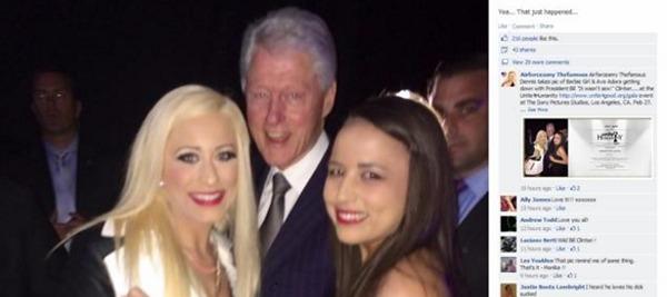 Bill Clinton fotografato con Barbie Girl e Ava Ador