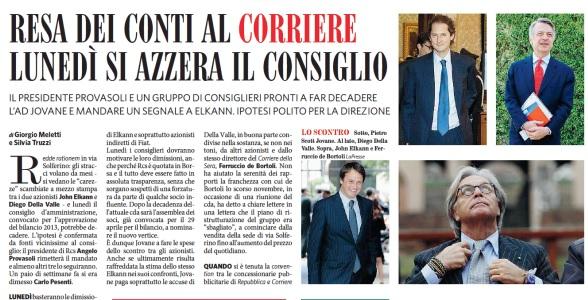 Corriere della Sera, lunedì la resa dei conti: si azzera il consiglio