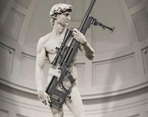 David di Michelangelo col mitra. Dario Franceschini spara su Twitter: Oltraggio!