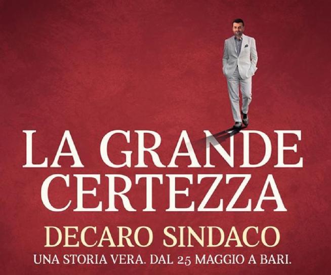 """""""La Grande Certezza"""", Antonio Decaro candidato sindaco a Bari: la foto"""