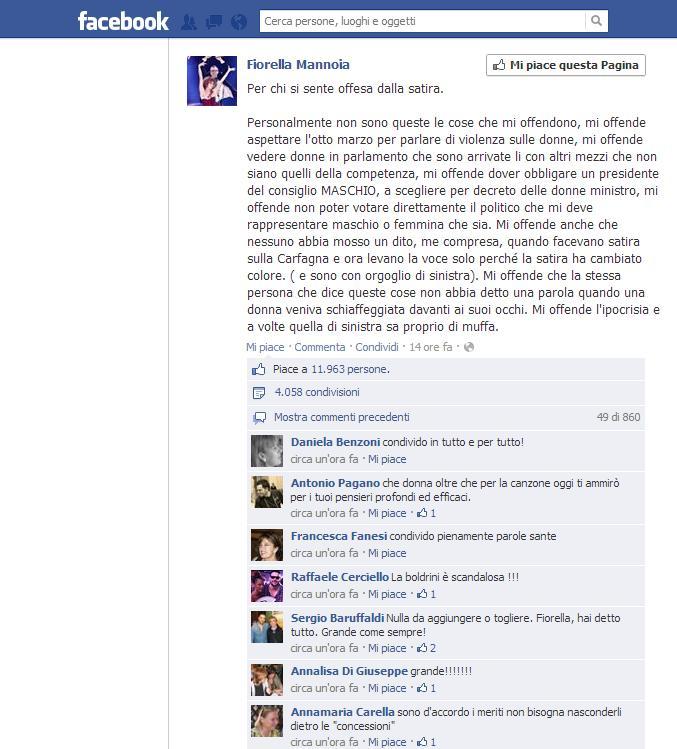 """Fiorella Mannoia attacca Laura Boldrini: """"Per chi si sente offesa dalla satira…"""""""