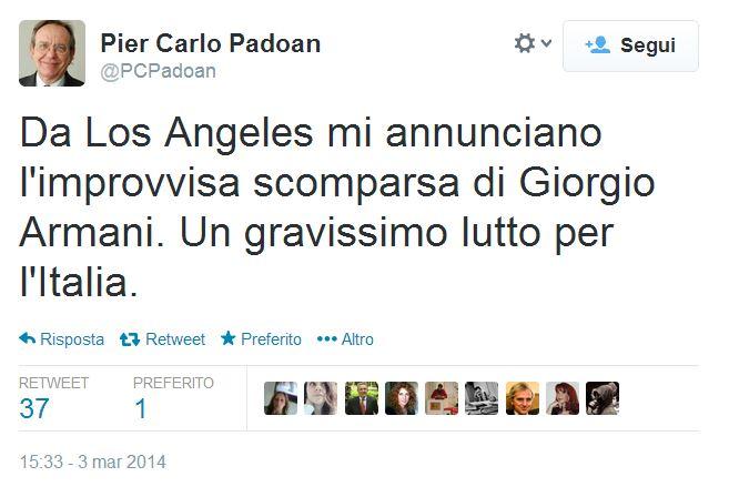 """Pier Carlo Padoan: """"Giorgio Armani è morto"""". Ma il profilo è falso"""