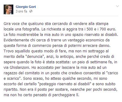 Giorgio Gori a Bergamo con l'auto sul posto per i disabili (foto)