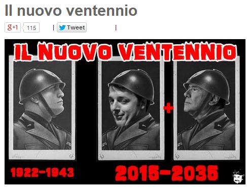 """Blog Beppe Grillo paragona Renzi a Mussolini: """"Nuovo Ventennio"""" (foto)"""