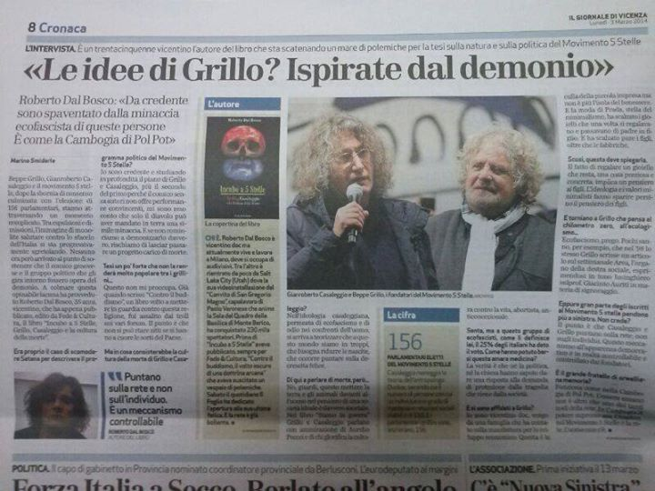 """""""Beppe Grillo? Le su idee ispirate dal demonio"""", Roberto Dal Bosco libro"""