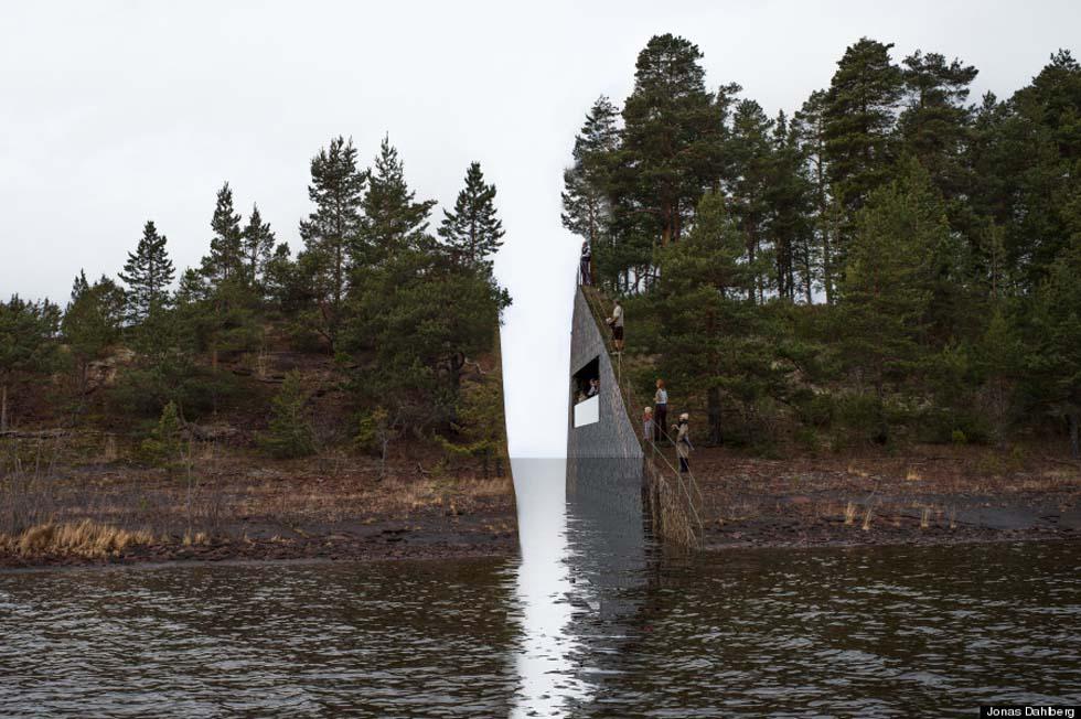 L'isola tagliata in due per ricordare la strage di Utoya