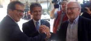Giovanni Manildo, sindaco di Treviso,  Ivo Rossi, sindaco di Padova, Giorgio Orsoni, sindaco di Venezia