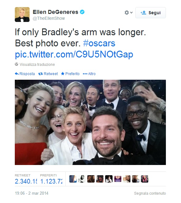 Oscar, Ellen De Generes e le altre star: il selfie più retweettato della storia