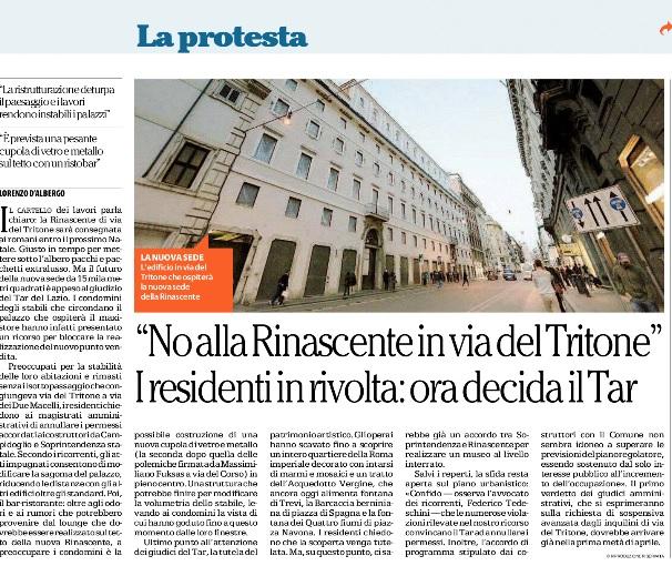"""Rinascente in via del Tritone, il """"no"""" dei residenti: deciderà il Tar"""