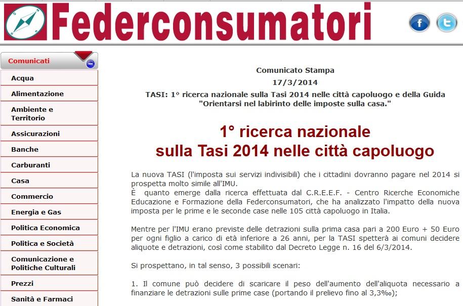 Tasi 2014 uguale Imu 2012: quanto si paga città per città per 100 mq classe A/2