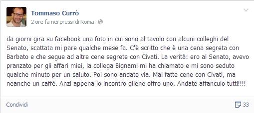 """M5s, Tommaso Currò su Fb: """"Cene con Civati? Mai fatte, andate tutti a fanculo"""""""